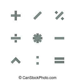 Set paper symbols basic mathematical operations, isolated on white background, vector illustration.