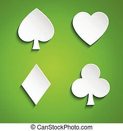 Symbol set of playing cards on green background, simple...