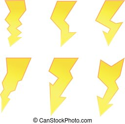 symbol set of thunder lighting icons