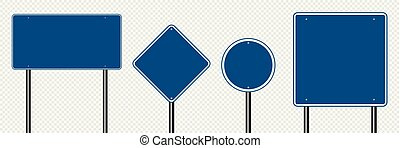 Symbol set sign road blue on transparent background