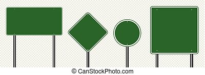 Symbol set sign road green board on transparent background