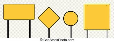 Symbol set sign road yellow board on transparent background