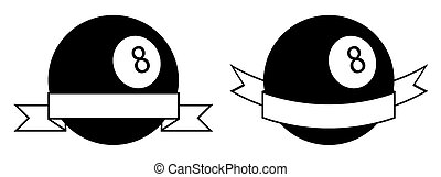 symbol set, sport ball for billiard on white background with ribbon. Pool and snooker competition. Isolated vector