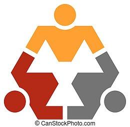 symbol, sexhörning, mänsklig, gemenskap