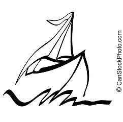 Symbol ship sailing on sea, vector