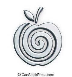 symbol, silber, apfel