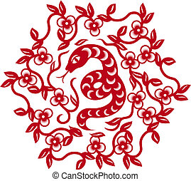 symbol, silhuet, slange, kinesisk