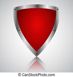 symbol, skydda, seger, röd, ikon