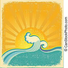 symbol, sonnenaufgang, abstrakt, seascape., vektor