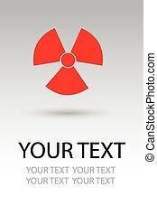 symbol, stråling, hazard underskriv
