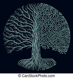symbol, stromkreis, runder , high-tech-, yggdrasil, stil, design., cyberpunk, fortschritt, baum., zukunftsidee