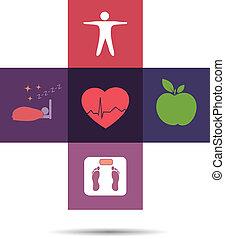 symbol, sundhed, kors, farverig, omsorg
