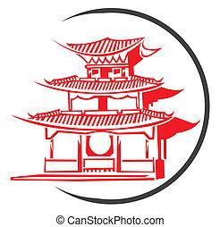 symbol, tempel, kinesisk