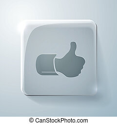 thumb up. Glass square icon