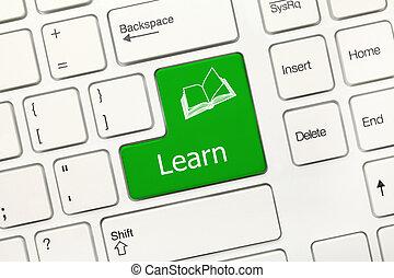 symbol), toetsenbord, -, boek, klee, leren, conceptueel, witte , (green