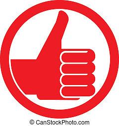 symbol, tommelfingre oppe