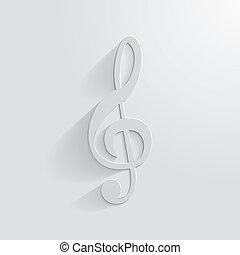 Symbol treble clef on white background