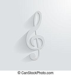 Symbol treble clef on white background