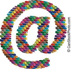 symbol, tredimensionell, färgrik