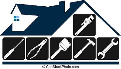 symbol, underhåll, hus, reparera, verktyg