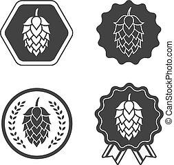 symbol, underteckna, öl, hantverk, humle, etikett