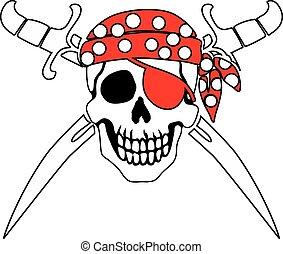 symbol, uppfattat, sjörövare, glad