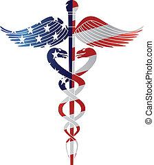 symbol, usflag, skissera, medicinsk, v, caduceus