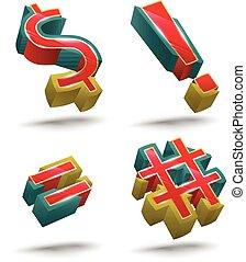 Symbol vector 3D style set.