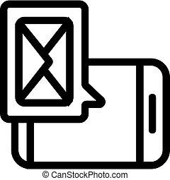 symbol, vector., odizolowany, kontur, telefon, ilustracja, ikona, wiadomość