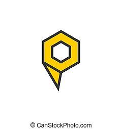 symbol vector of letter p polygon hexagon line art design