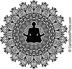 symbol, vektor, joga, abbildung, meditation