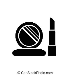 symbol, vektor, lippenstift, spiegel
