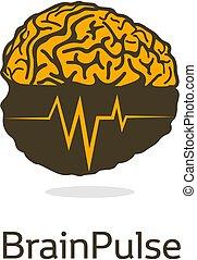 symbol., vektor, logotype., isolerat, hemispheres., emblem., hjärn-, brains., grafisk, image., scientifical, pulse., bark, neurobiology, färgrik, illustration., intelligens, hjärna, medicinsk, mänsklig