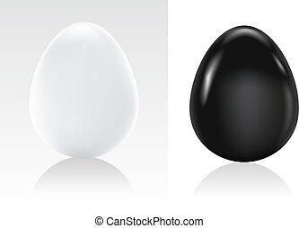 symbol, vektor, schwarz, ei, weißes, feiertag, ostern