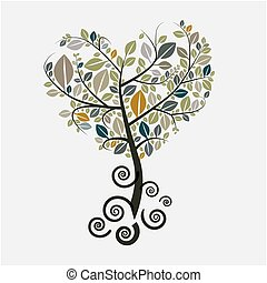 symbol, vektor, träd, rötter, krullat