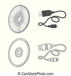 symbol, vektor, zeichen., design, vorrichtung, laptop, satz...