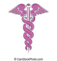 symbol, vit, isolerat, illustration, caduceus