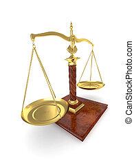 symbol, von, justice., scale., 3d