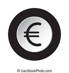 symbol, -, waluta, czarnoskóry, ikona, biały, okrągły, euro