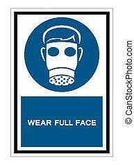 Symbol Wear Full Face Isolate On White Background,Vector Illustration EPS.10