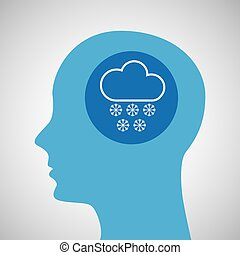 symbol weather icon. silhouette head and cloud snow