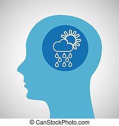 symbol weather icon. silhouette head and cloud rain sun