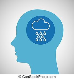 symbol weather icon. silhouette head and cloud rain