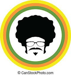 symbol, wektor, afro, człowiek