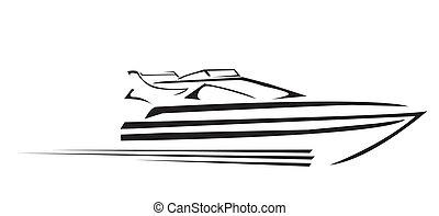 symbol, wektor, jacht, ilustracja