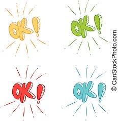 symbol, wektor, ok, ilustracja, znaki