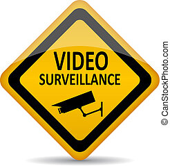 symbol, wektor, video inwigilacja
