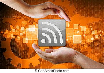 symbol, wifi, bakgrund, affär, hand