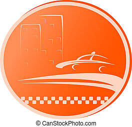 symbol with road, taxi car and home