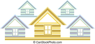 symbol with silver and gold house